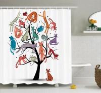 Cartoon Decor Cute Cat Tree With Various Kitties On The ...