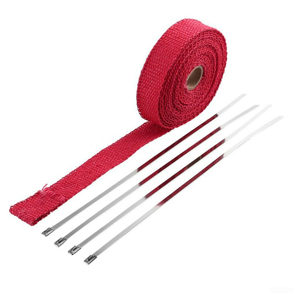 red fiberglass manifold exhaust wrap header pipe heat insulation tape roll 1 5m