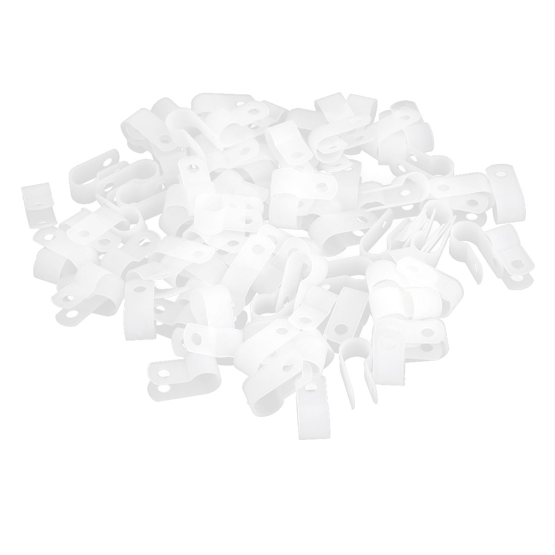 100 Pcs Clear Plastic R Shape Electric Wire Tube Cord Hose