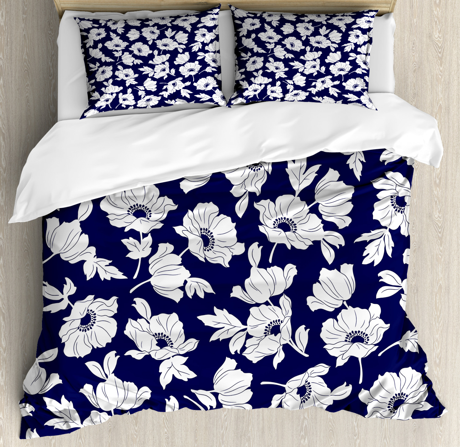 navy and white king size duvet cover set botanical arrangement with poppies in white simple feminine corsage decorative 3 piece bedding set with 2