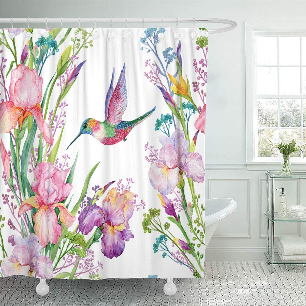 atabie blue irises flowers and small hummingbird exotic watercolor green shower curtain 60x72 inch