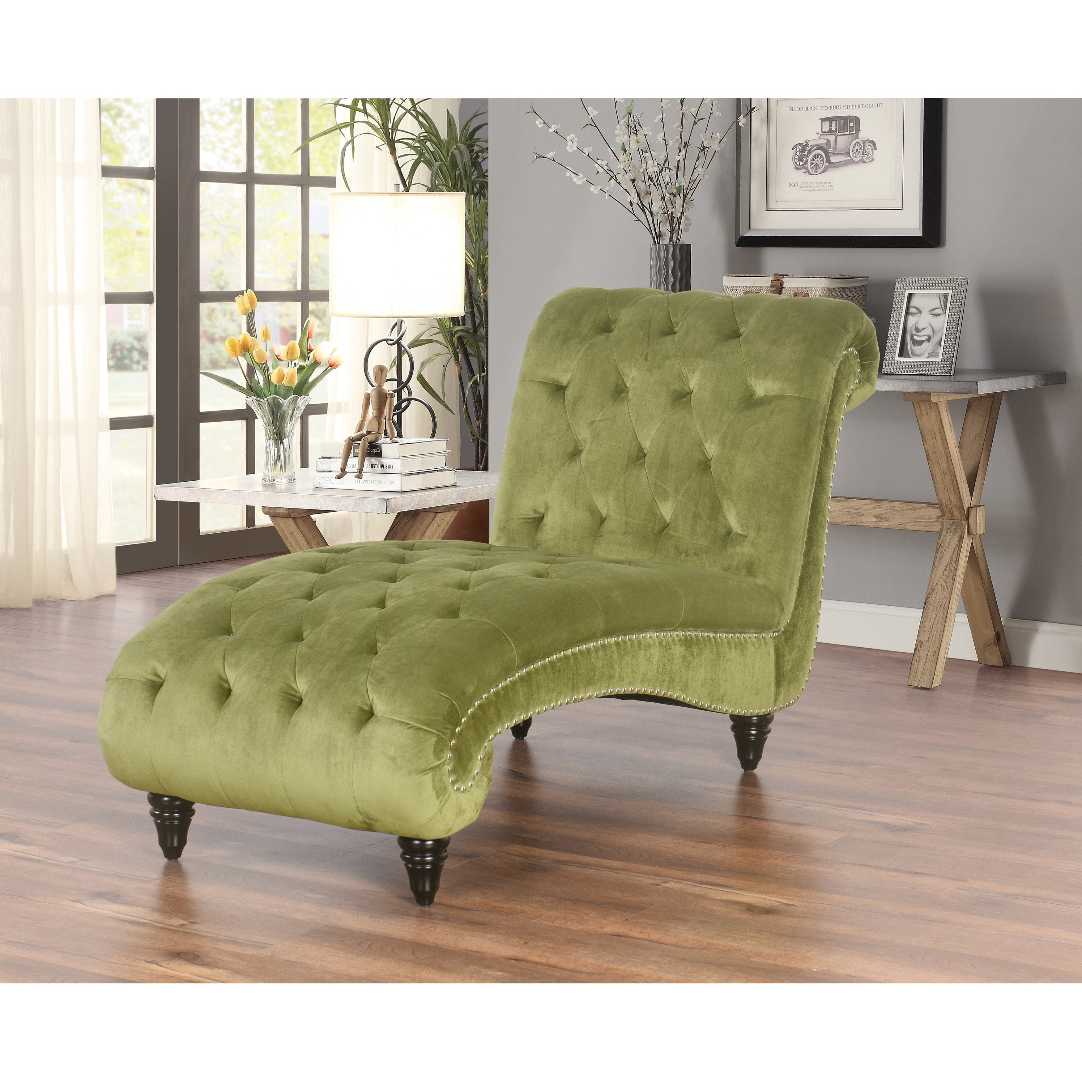 Details About Chaise Lounge Chair Traditional Sofa Bedroom Living Indoor Tufted Olive Velvet