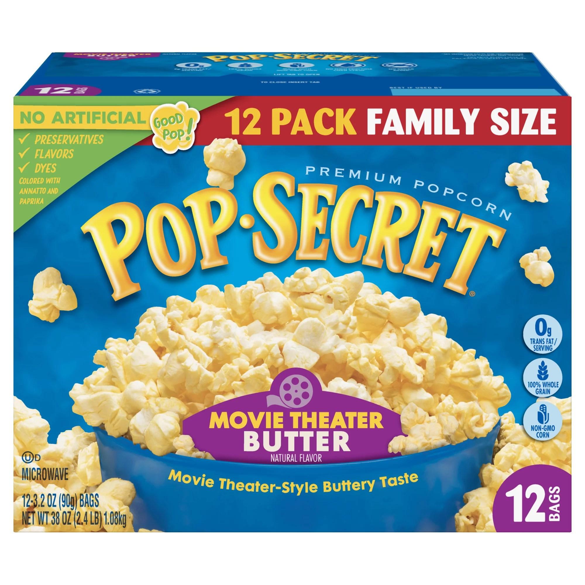 pop secret microwave popcorn movie theater butter 3 2 oz 12 count walmart com