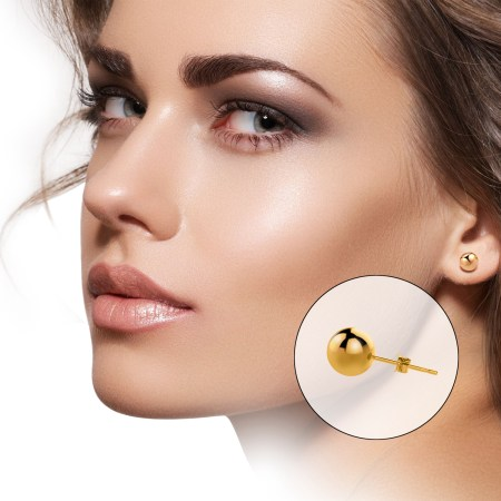 UHIBROS 316L Surgical Stainless Metal Spherical Ball Studs Earrings 5 Pair Set Assorted Sizes -Gold 183d0cbe 1067 4273 b50b 44d72e36c636 1