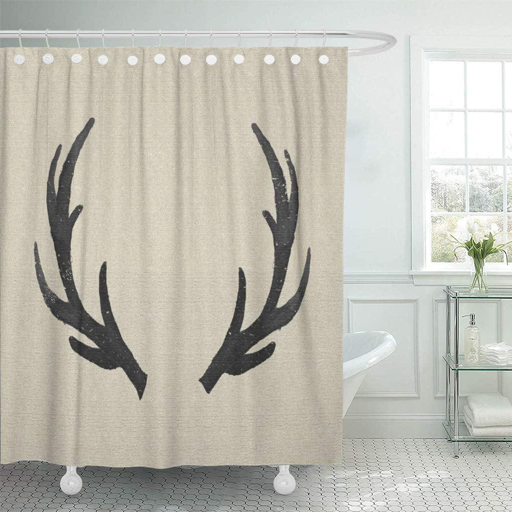atabie stag black deer antlers rustic burlap farmhouse lodge shower curtain 66x72 inch