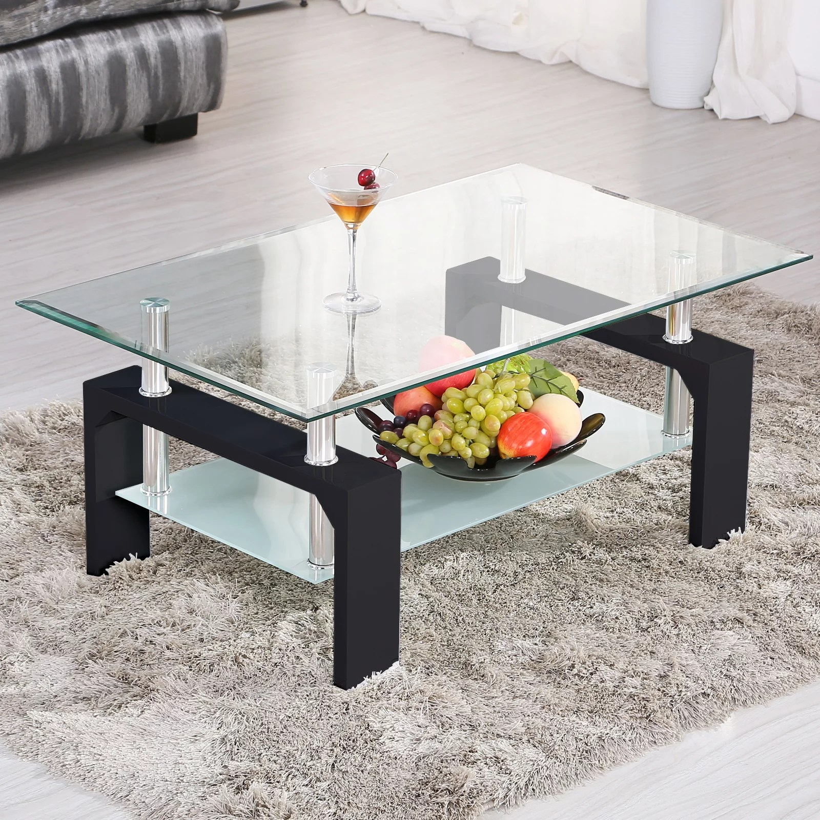 uenjoy rectangular glass coffee table shelf chrome black wood living room furniture black walmart com