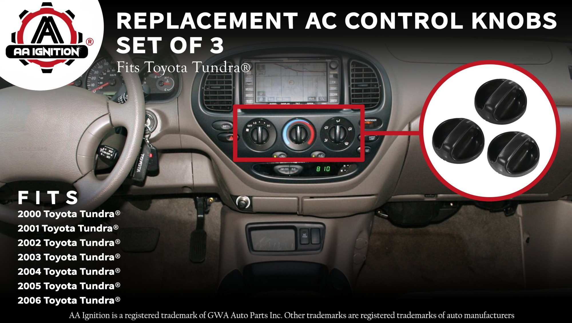 hight resolution of ac climate control knob set of 3 replaces 55905 0c010 559050c010 fits 2000 2001 2002 2003 2004 2005 2006 toyota tundra air conditioner