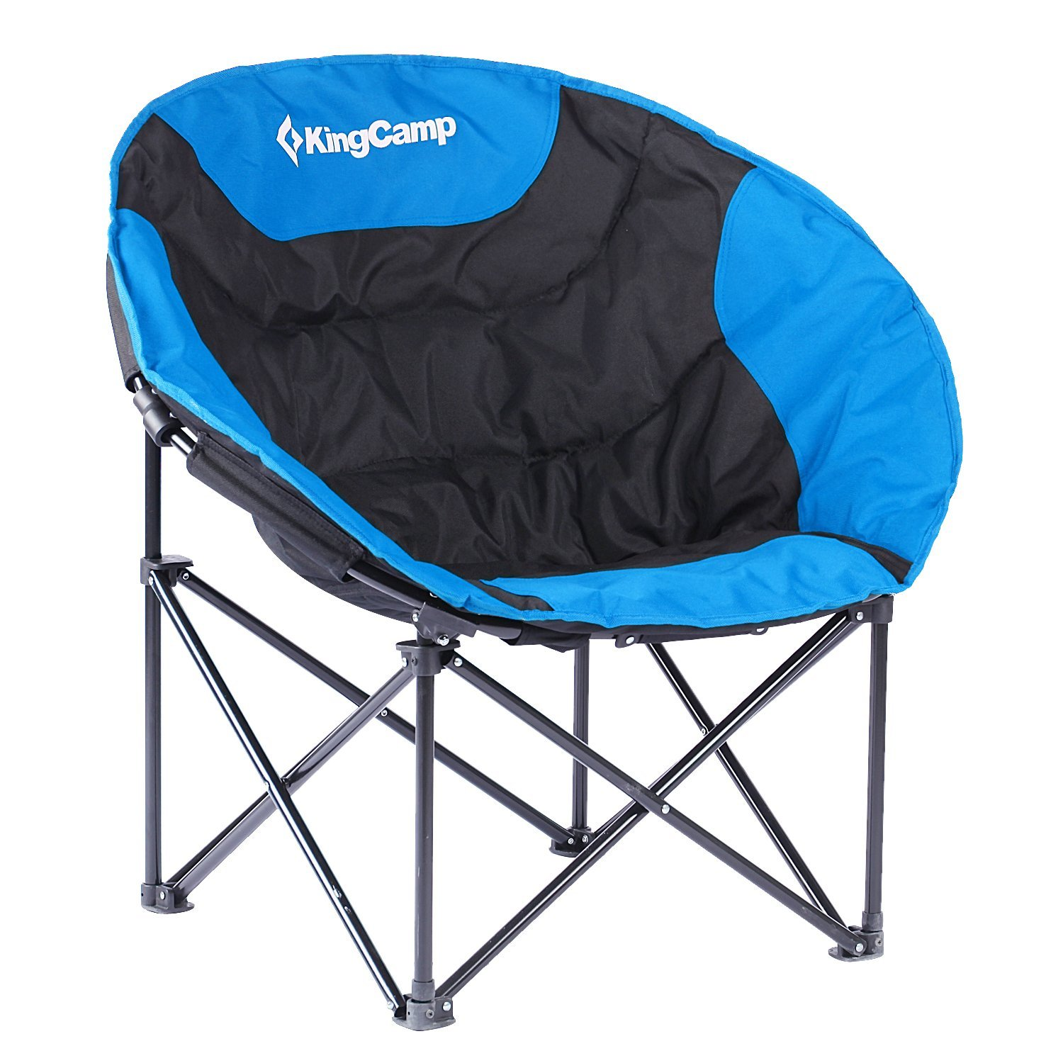 padded camping chair office waiting room chairs cheap kingcamp moon saucer steel frame folding round portable stable with carry bag walmart com