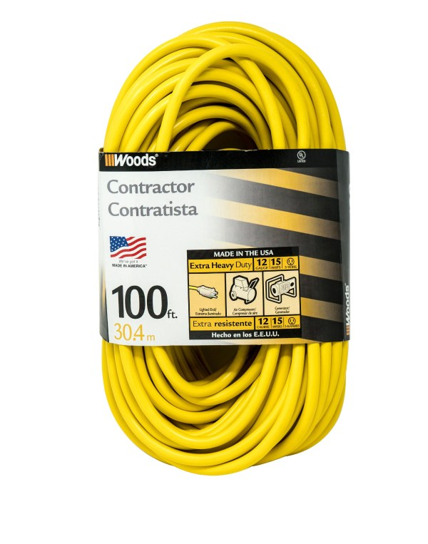 Woods 992555 12-gauge Extra Heavy Duty 100 Ft Extension Cord Yellow 3 Prong Outdoor
