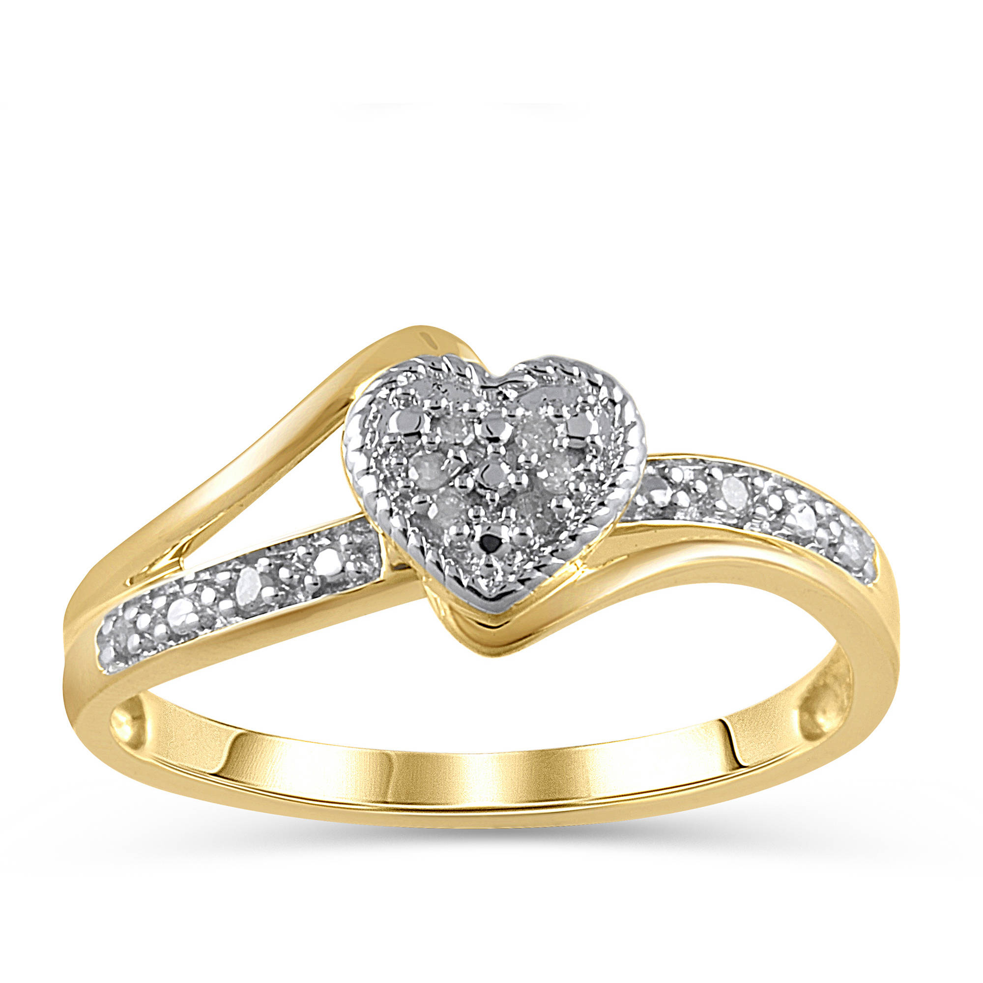 Diamond Accent 10kt Yellow Gold Heart Promise Ring