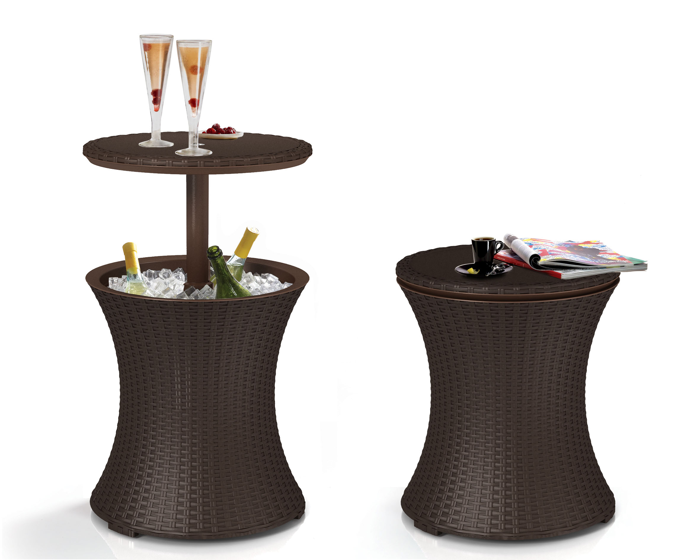 keter pacific 7 5 gallon cool bar resin outdoor patio beverage cooler table extra storage rattan look brown