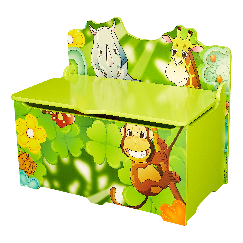 Senda Kid S Jungle Wooden Storage Toy Box With Lid
