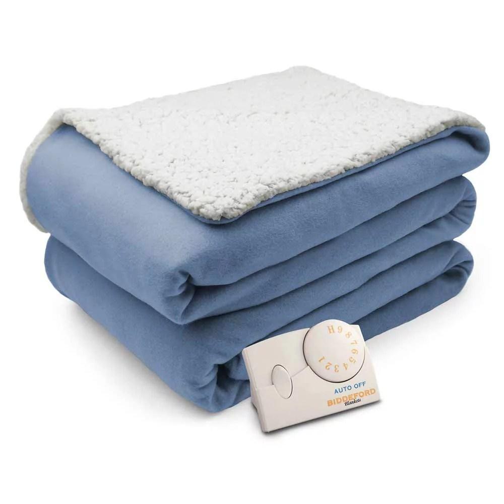 Biddeford Comfort Knit Natural Sherpa Electric Heated Blanket - Walmart.com - Walmart.com