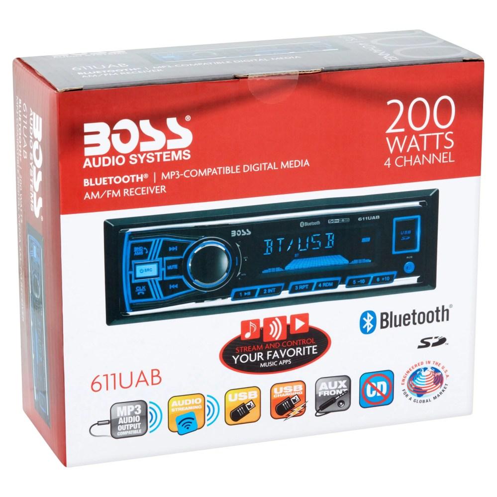 medium resolution of boss 611uab boss audio 611uab single din mech less receiver bluetooth in dash mp3 wma am fm 12 18 x am fm preset sd bluetooth usb