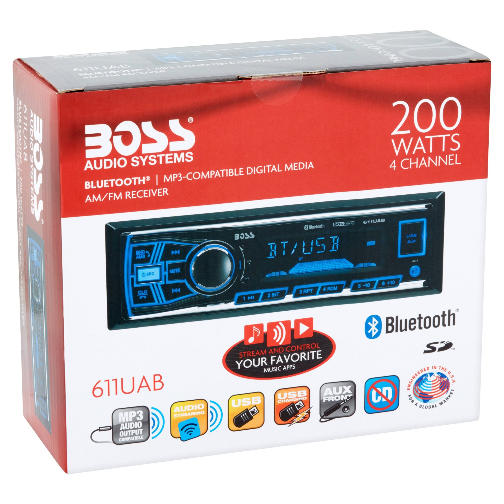 hight resolution of boss 611uab boss audio 611uab single din mech less receiver bluetooth in dash mp3 wma am fm 12 18 x am fm preset sd bluetooth usb