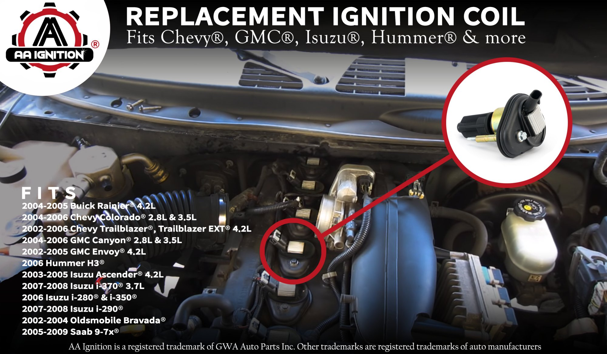 hight resolution of ignition coil pack replaces 12568062 19300921 for a chevy trailblazer gmc envoy 2002 2003 2004 2005 chevrolet colorado 2004 2006
