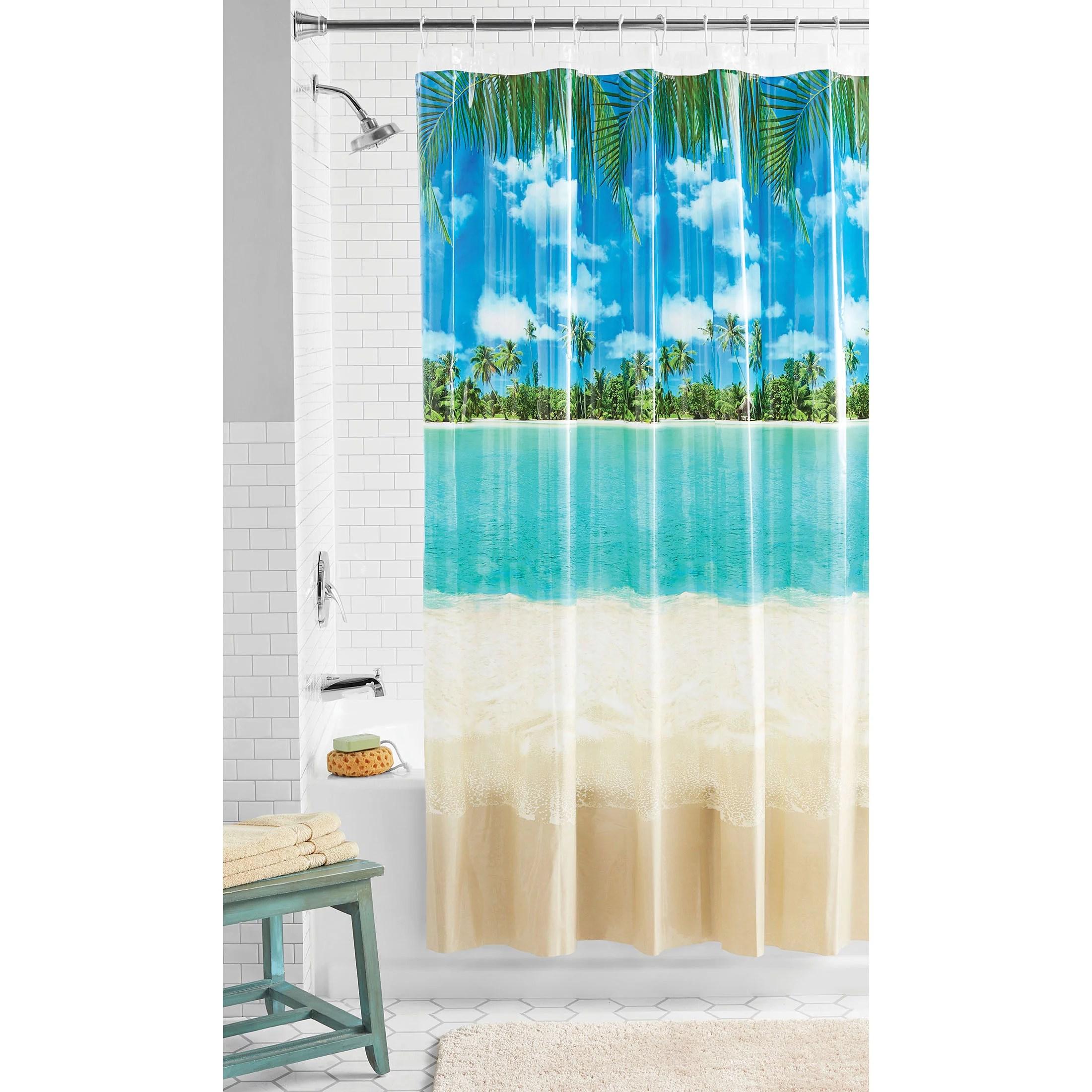 mainstays photoreal beach chloride free peva printed scenic shower curtain multi 70 x 71 walmart com