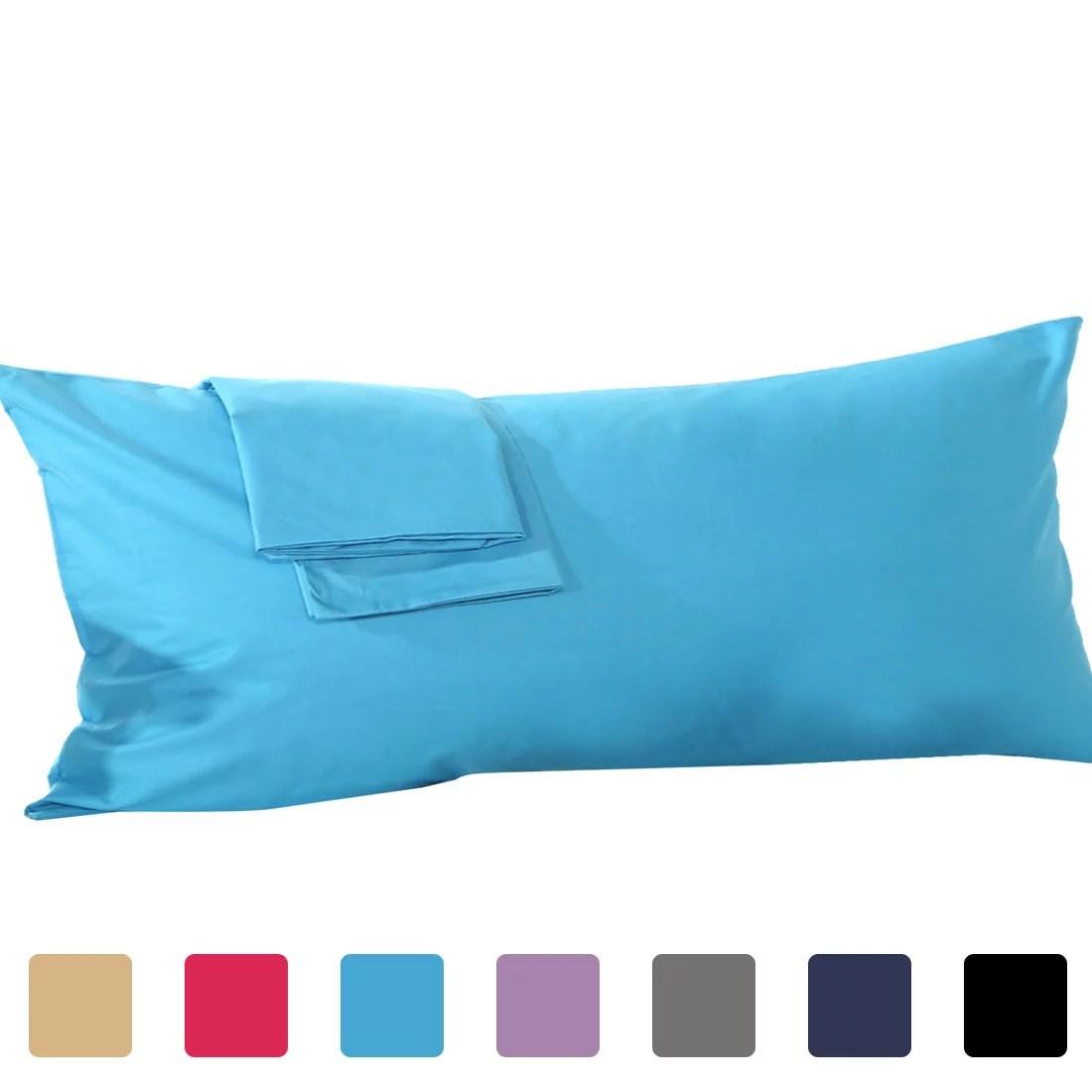 piccocasa 100 cotton silky soft egyptian cotton pillow cover 1 piece body 20 x 48 blue