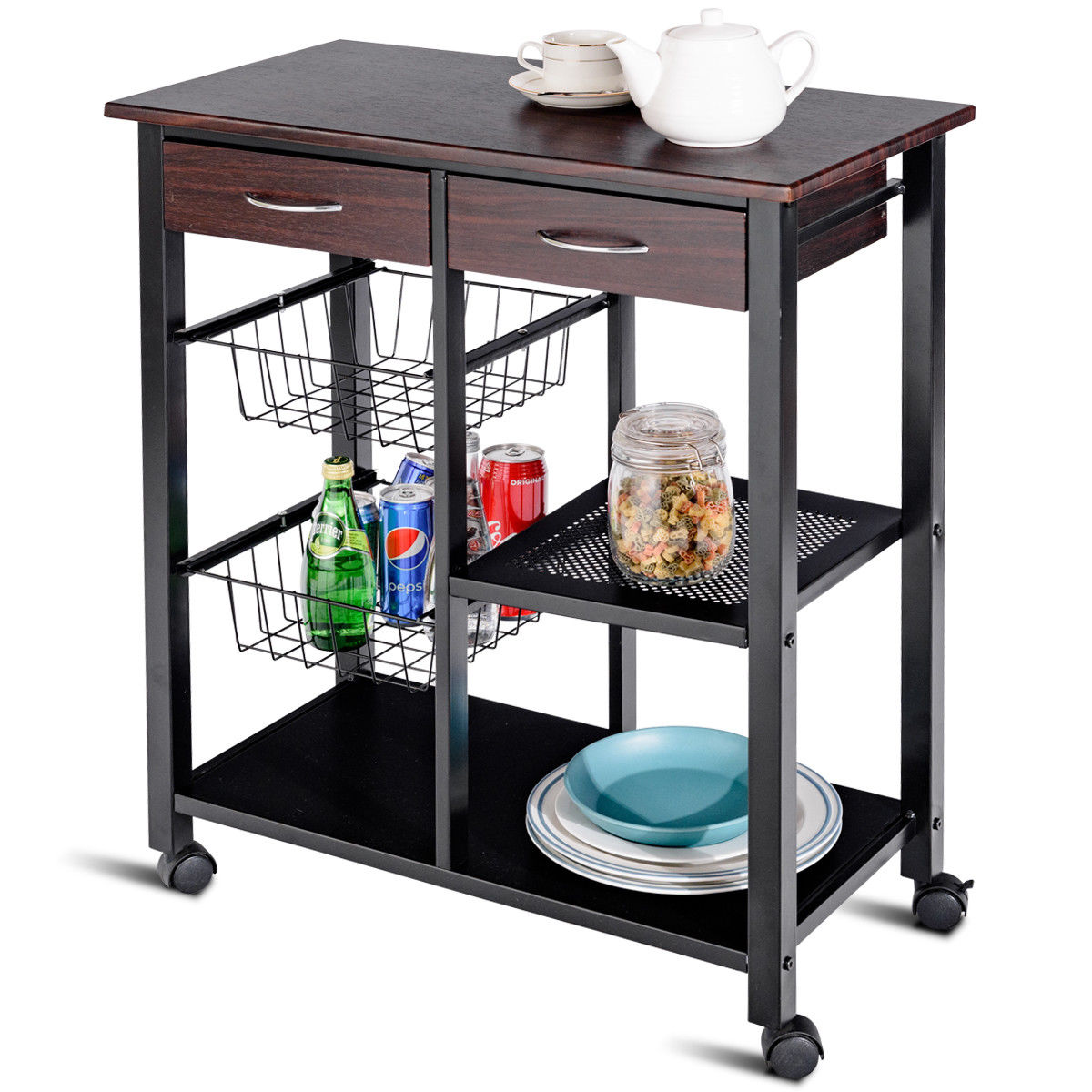 rolling cart for kitchen cleaning products islands carts walmart com product image costway trolley storage island utility metal frame w drawer basket
