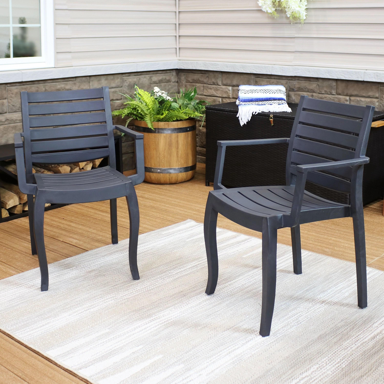 sunnydaze illias plastic outdoor patio arm chair outdoor furniture for porch deck balcony lawn backyard garden and sunroom stackable seating