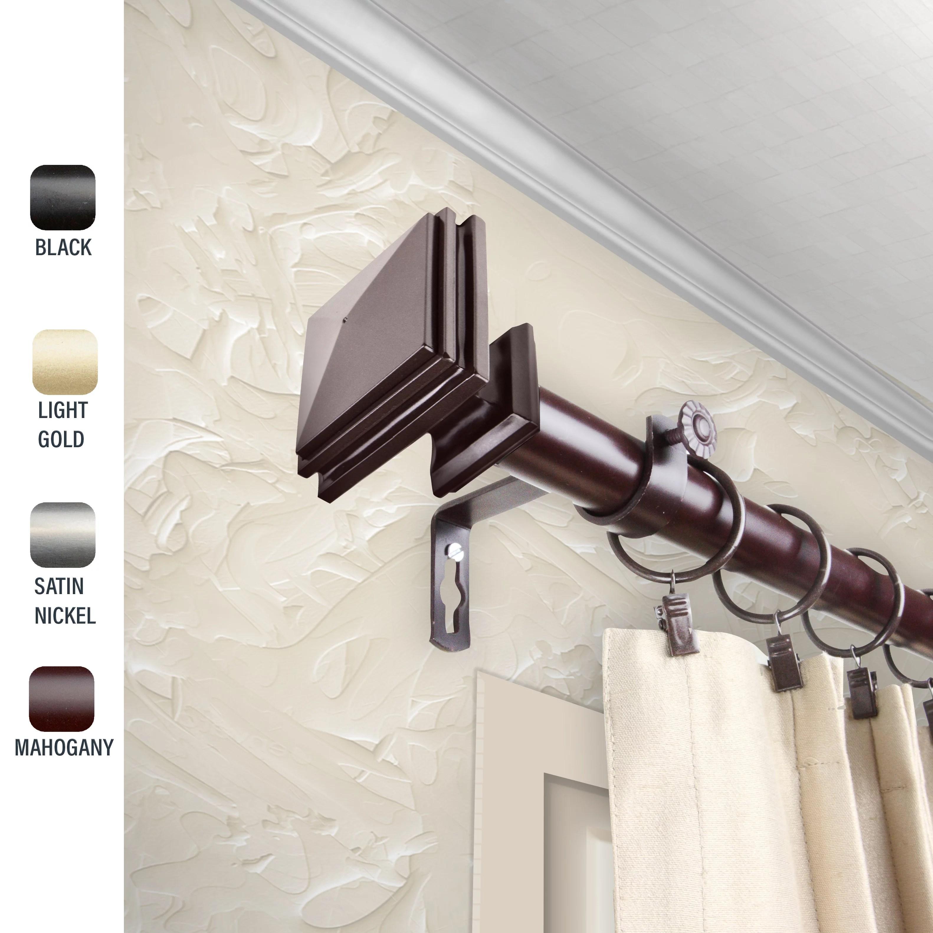 wilson 1 dia curtain rod 66 120 inches mahogany walmart com