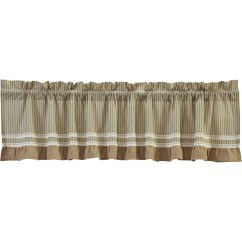 French Lace Kitchen Curtains The Orleans Island Khaki Green Tan Farmhouse Kendra Stripe Rod Pocket Cotton Burlap Striped 19x90 Valance Walmart Com