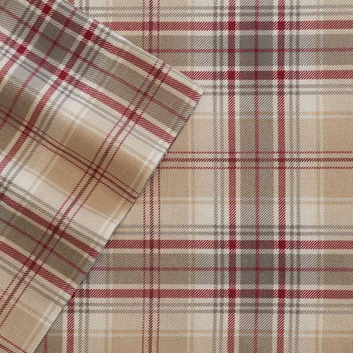 Cuddle Duds Tan & Red Plaid Flannel Sheet Set Queen Bed