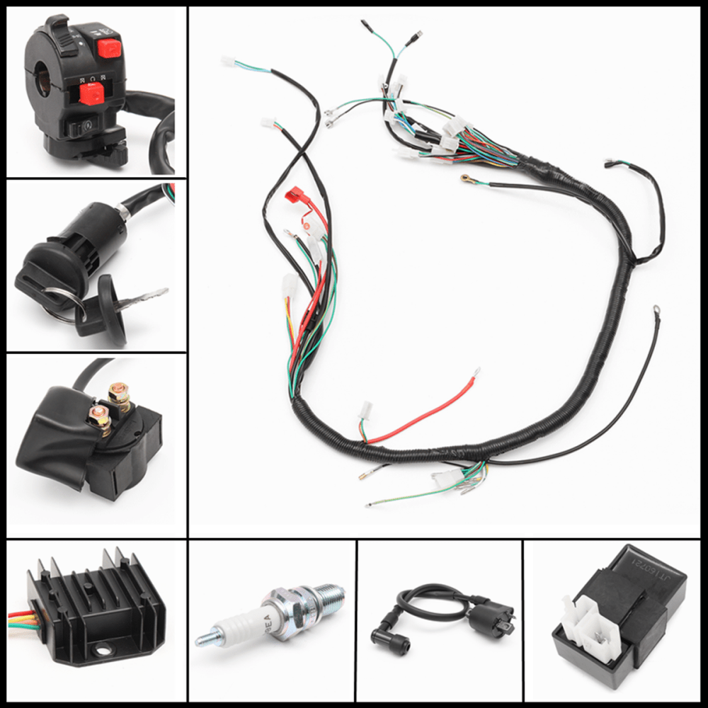 medium resolution of wiring motorcycleaccessorie harness loom solenoid coil rectifier cdi for automatic semi auto 200 300cc chinese atv 4 stroke quad bikes buggy 150cc quad