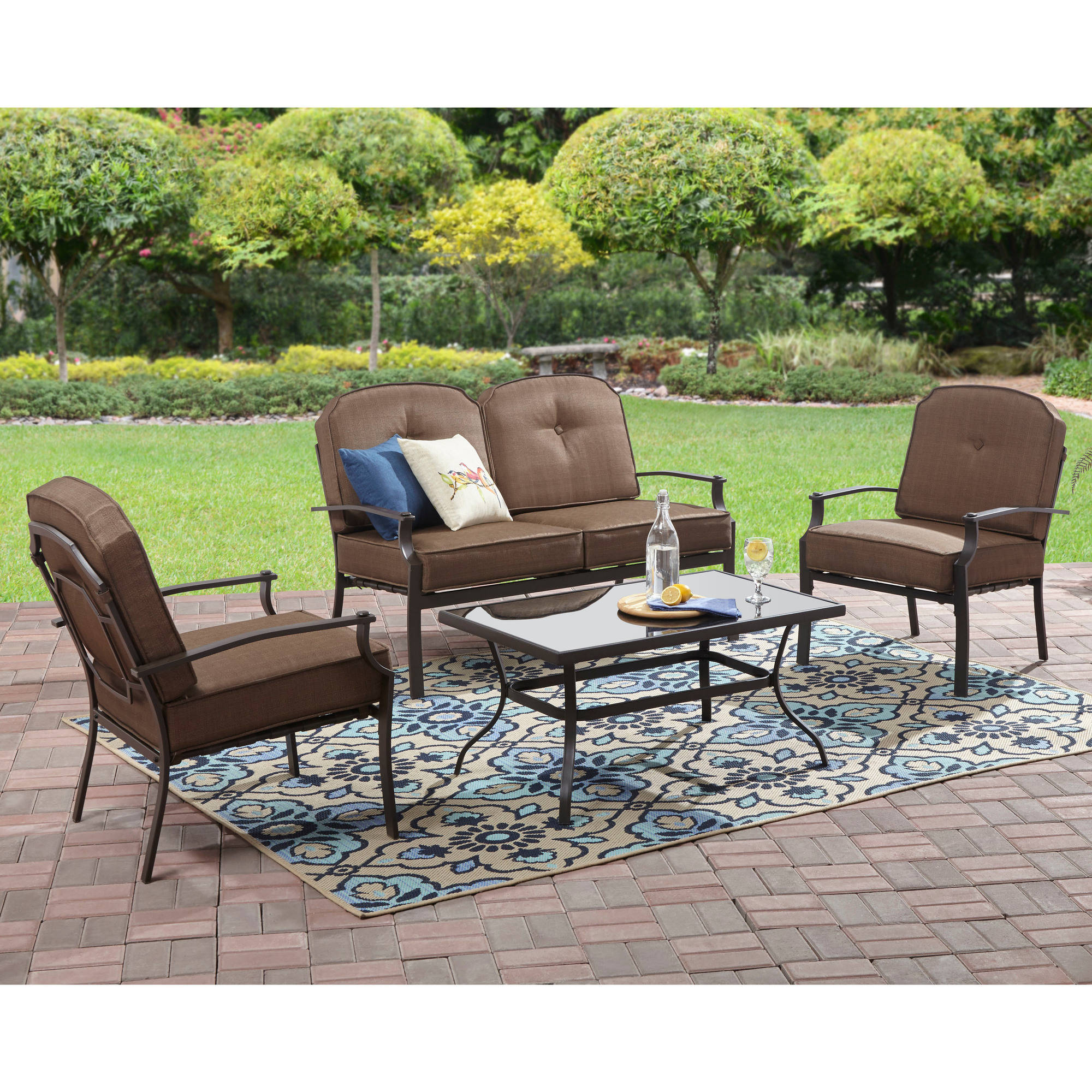 mainstays wentworth 4 piece metal patio furniture conversation set with cushions and pillows walmart com