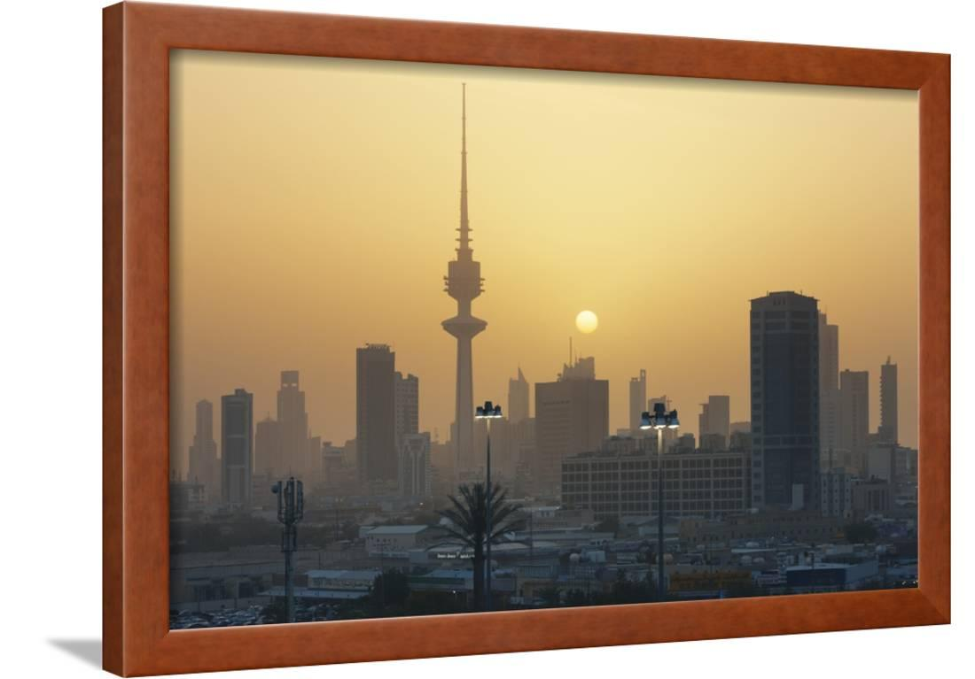 Sunset Over Kuwait City Framed Print Wall Art By Jon Hicks
