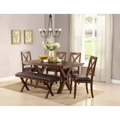 Farmhouse Table And Chairs With Bench Wedding Chair Cover Hire Preston Better Homes Gardens Maddox Crossing Dining Walmart Com