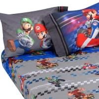 3pc Super Mario Kart Twin Bed Sheet Set Nintendo Full ...