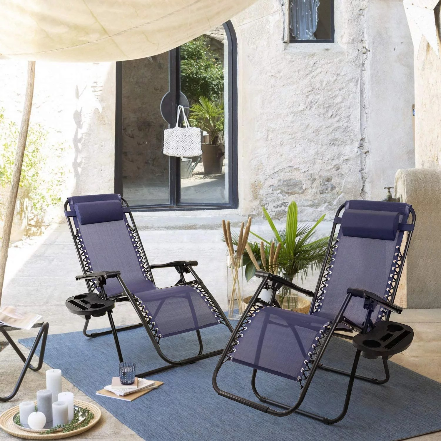 vineego zero gravity chair set of 2 camp reclining lounge chairs outdoor lounge patio chair with adjustable pillow 2 pack blue walmart com