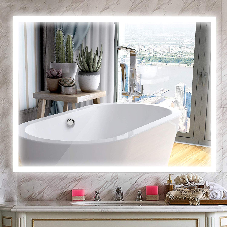 Vanity Art High Quality 36 X 24 Rectangular Wall Mounted Frameless Led Lighted Bathroom Vanity Mirror With Touch Sensor Walmart Com Walmart Com