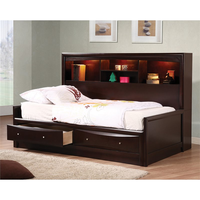 bowery hill full bookcase daybed in cappuccino walmart com