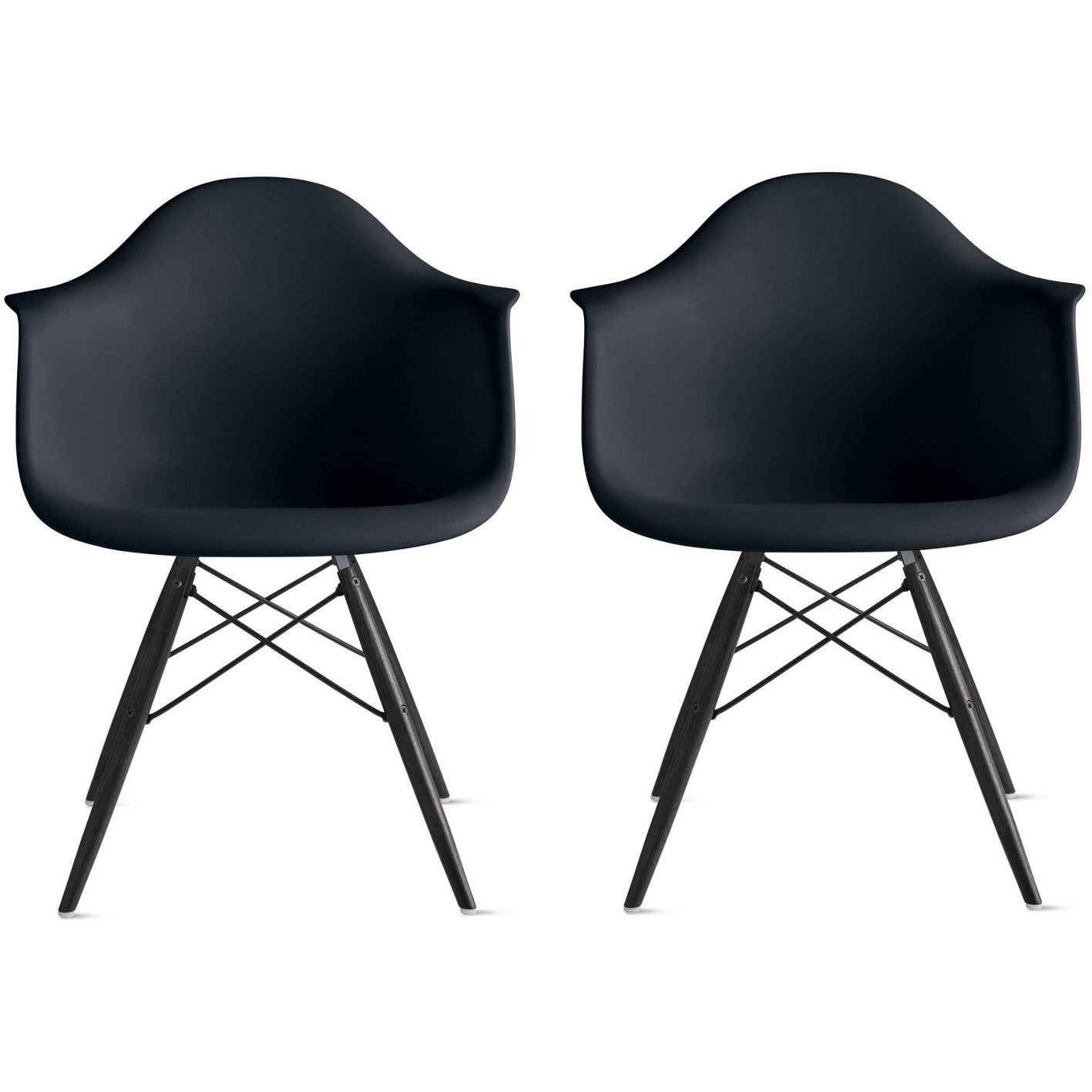 black plastic chair with wooden legs circle shaped 2xhome set of 2 two armchair wood eiffel