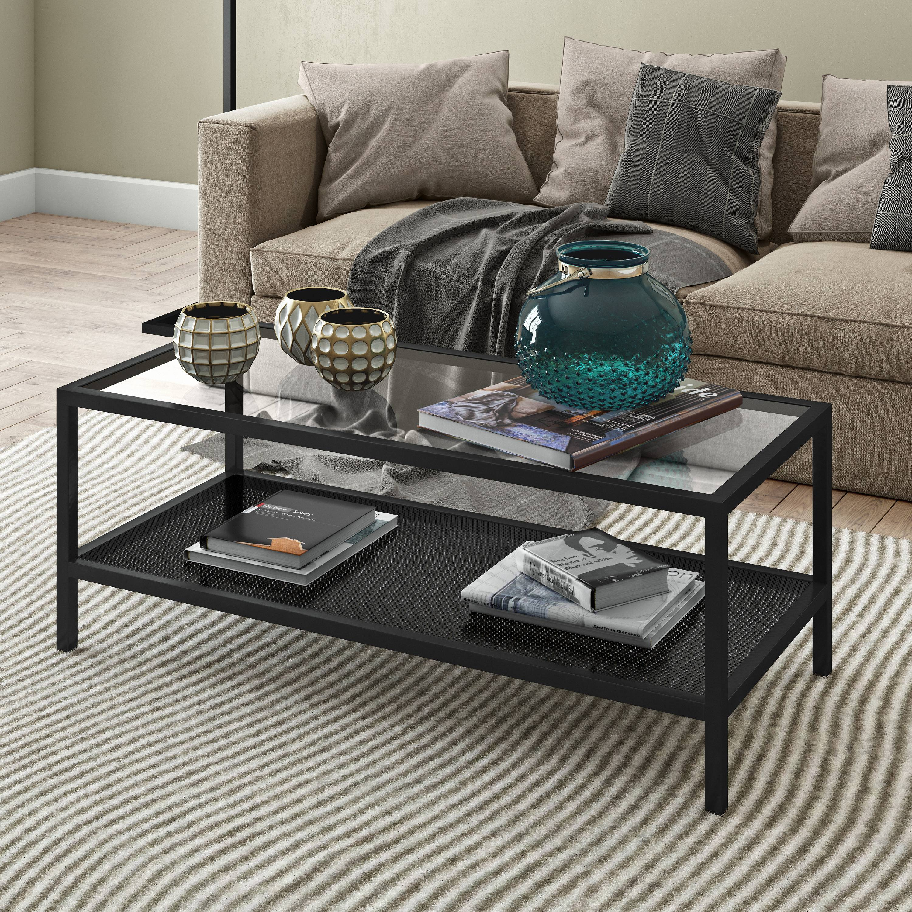 evelyn zoe contemporary metal coffee table with glass top walmart com