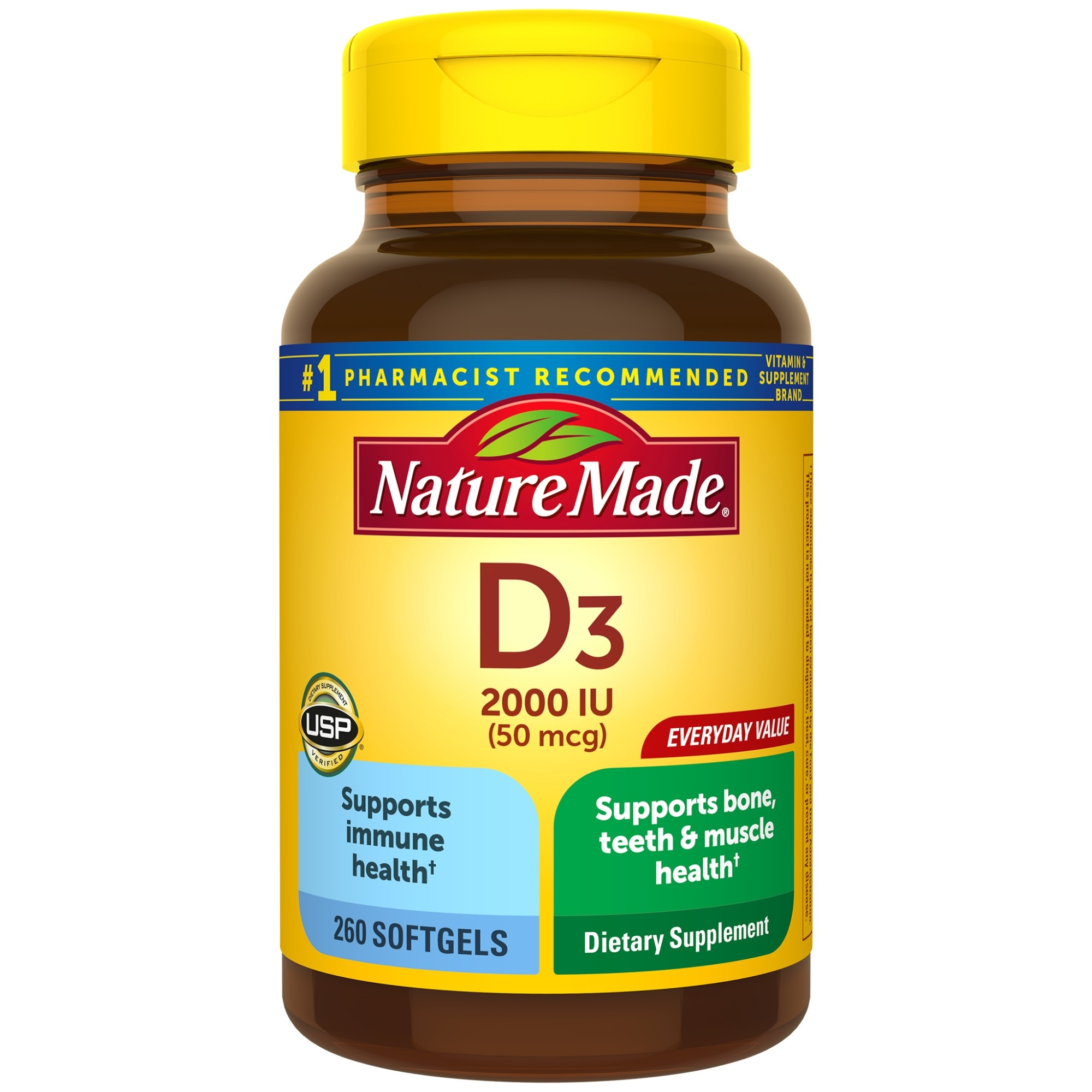 Nature Made Vitamin D3 2000 IU (50 mcg) Softgels, 260 Count Everyday Value for Bone Health†