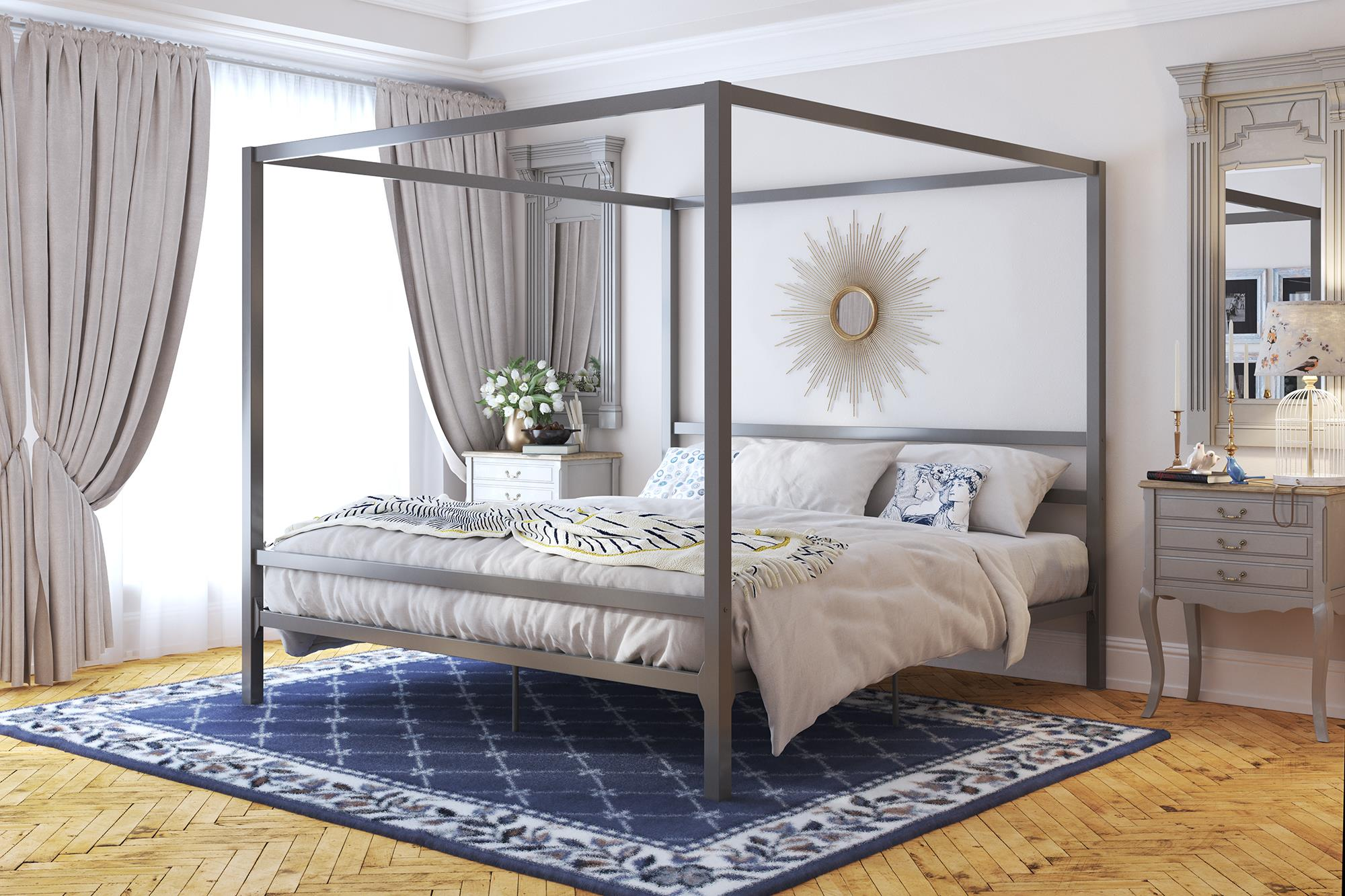 dhp modern canopy gunmetal grey metal bed king
