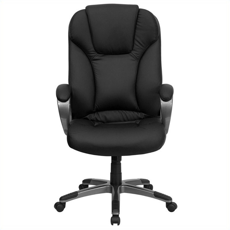 flash furniture high back executive leather office chair Flash Furniture High-Back Executive Office Chair with Arms, Black Leather - Walmart.com