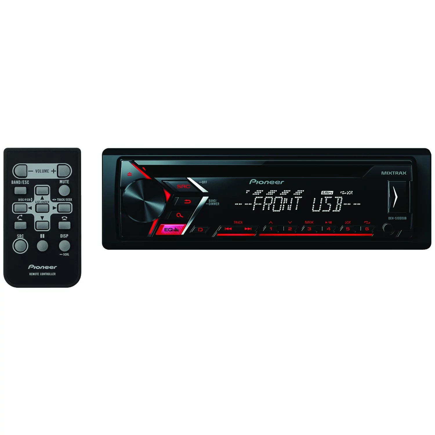 pioneer deh 3 gang one way switch wiring diagram s1000ub single din in dash cd receiver walmart com