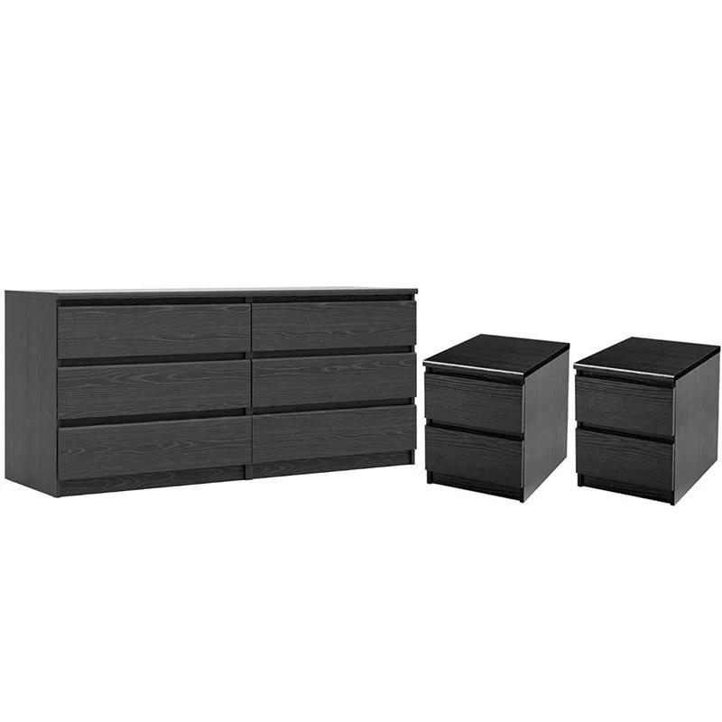 3 piece bedroom set with 6 drawer double dresser and two 2 drawer nightstands in black woodgrain walmart com