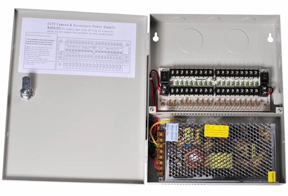 medium resolution of videosecu 18 channel port output 12v dc ptc fuse distributed power supply box for security cameras cctv home surveillance system c52 walmart com