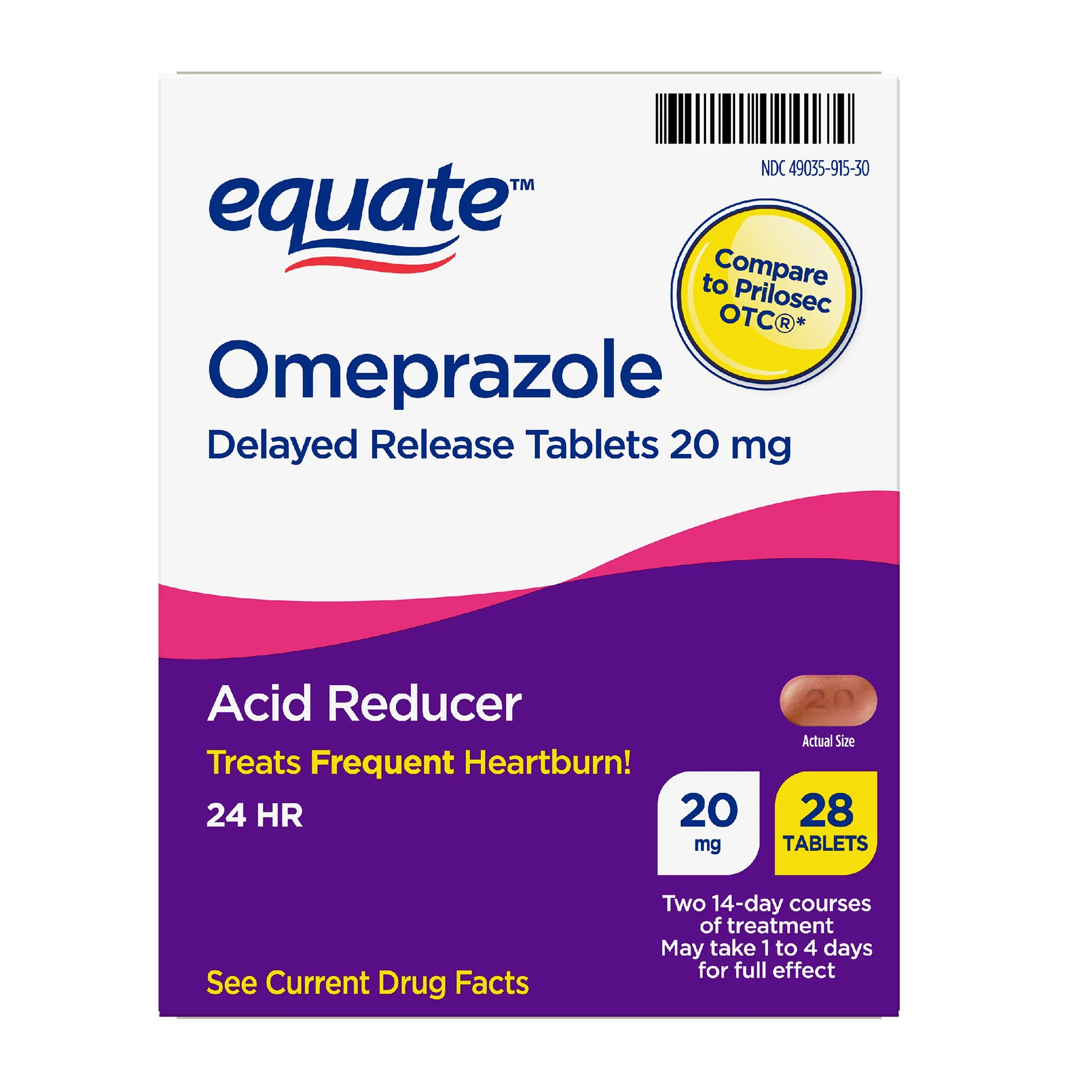 Equate Omeprazole Delayed Release Tablets 20 mg 28 Count ...
