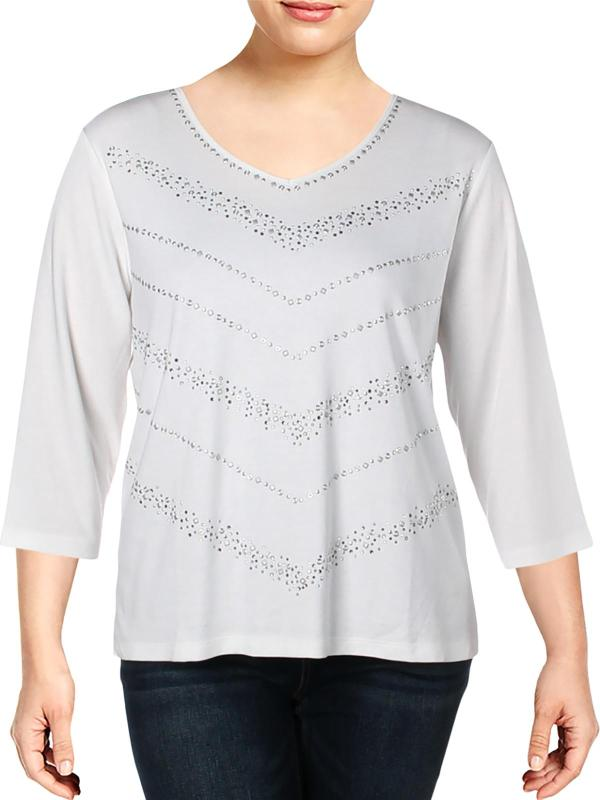 Alfred Dunner - Womens Embellished -neck Knit Top White Xl