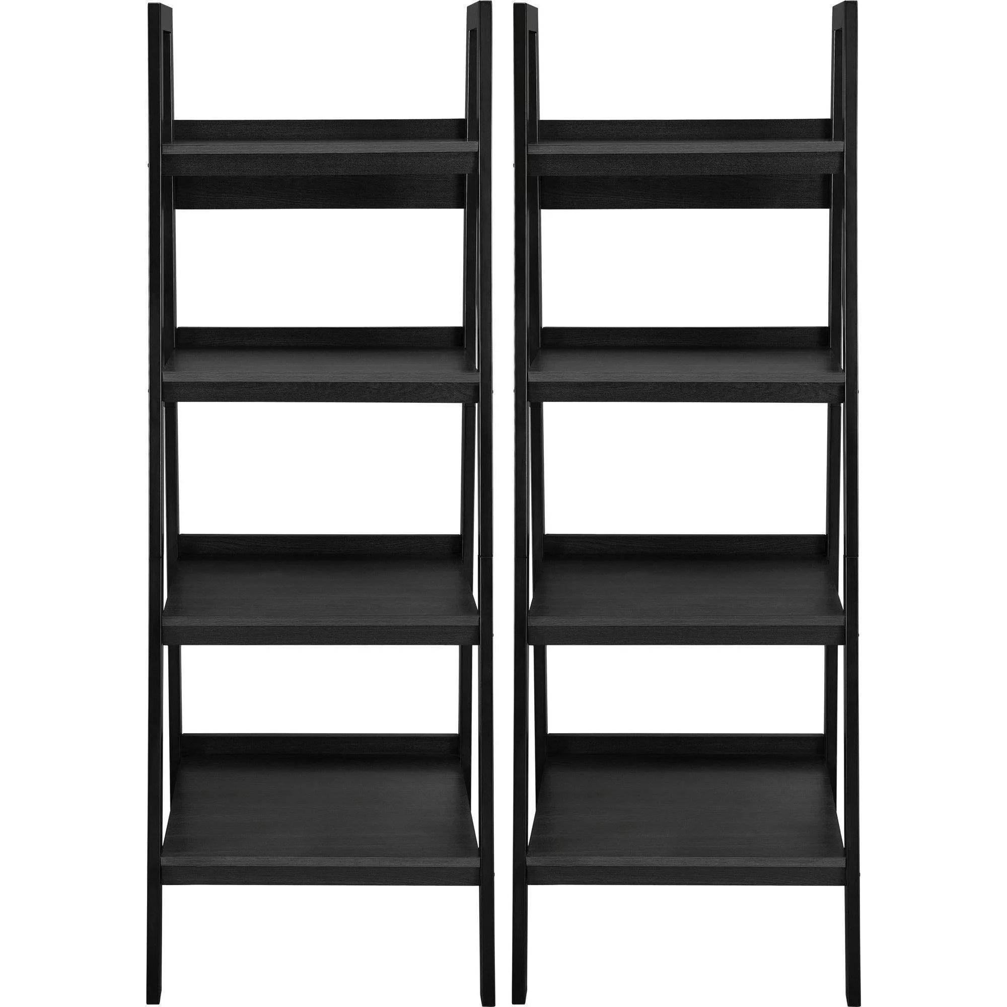 Altra Metal Ladder Bookcase Set Of 2 Black Shelves Shelf