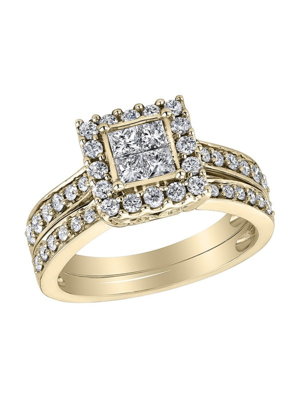 Princess Cut Diamond Engagement Ring & Wedding Band Set 1 2 Carat Ctw In 14k Yellow Gold