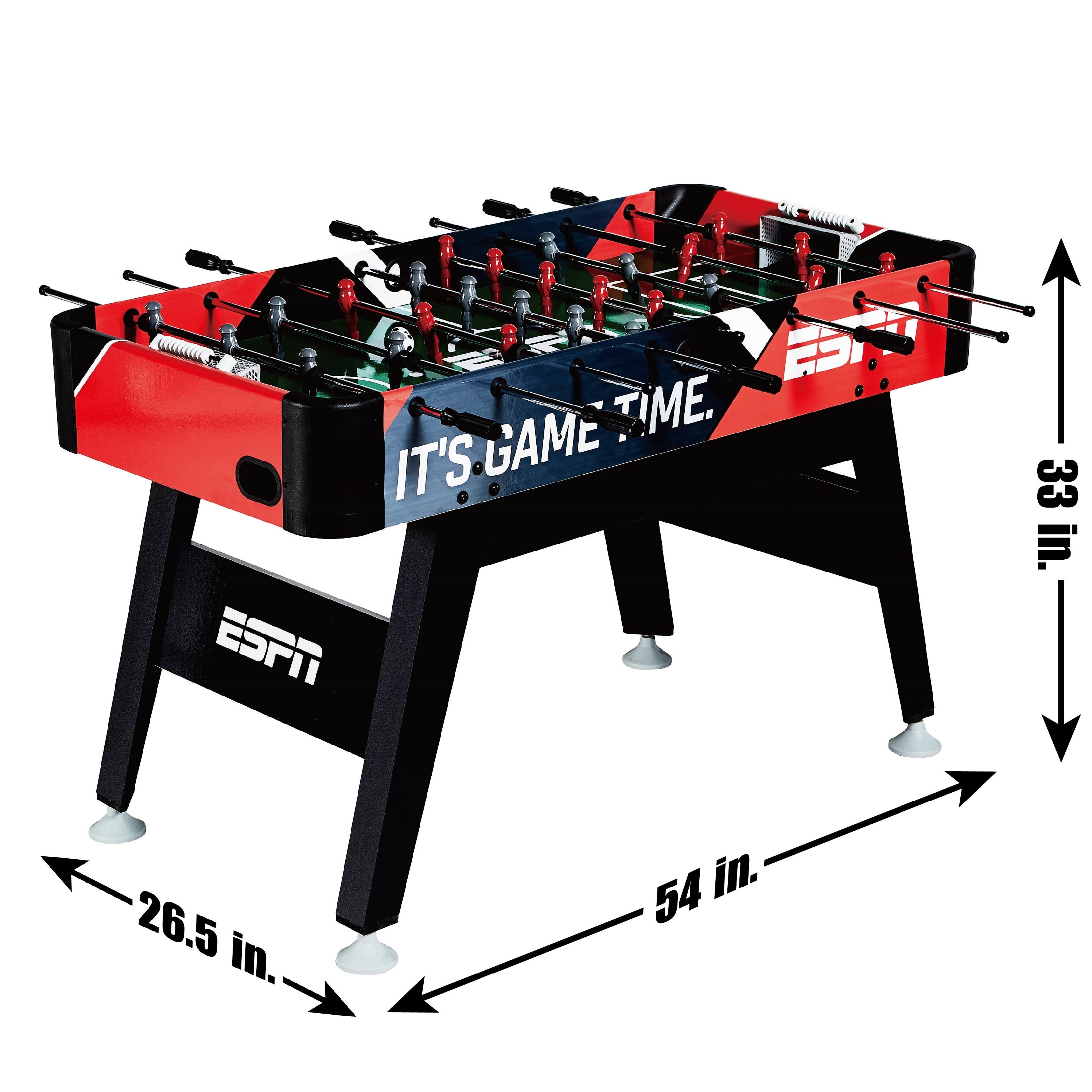 espn 54 arcade foosball soccer game table with bead scoring accessories included red black