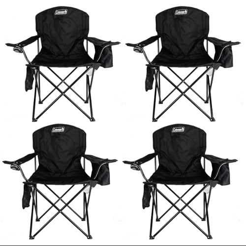 coleman camping oversized quad chair with cooler cowhide chairs and ottomans 4-pack built-in cooler, black | 4 x 2000020267 - walmart.com