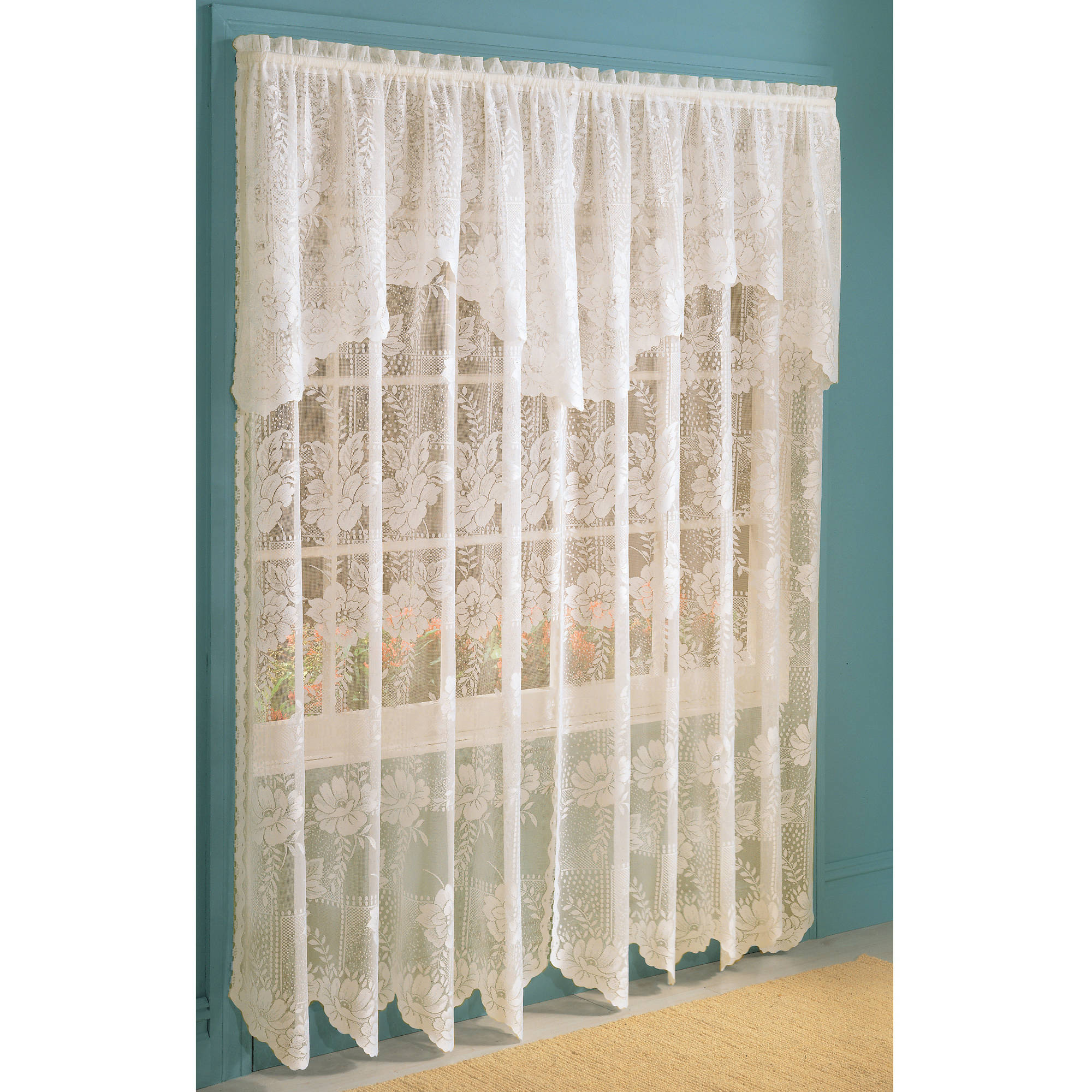 Walmart curtains valances - Anna Lace Curtain Panel With Attached Valance Walmart Com